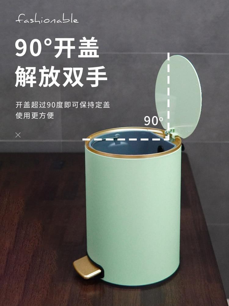 Nordic Luxury Trash Can Bedroom Creative Stainless Steel Kawaii Kitchen Trash Bin Bathroom Poubelle Kitchen Storage BC50TB. enlarge