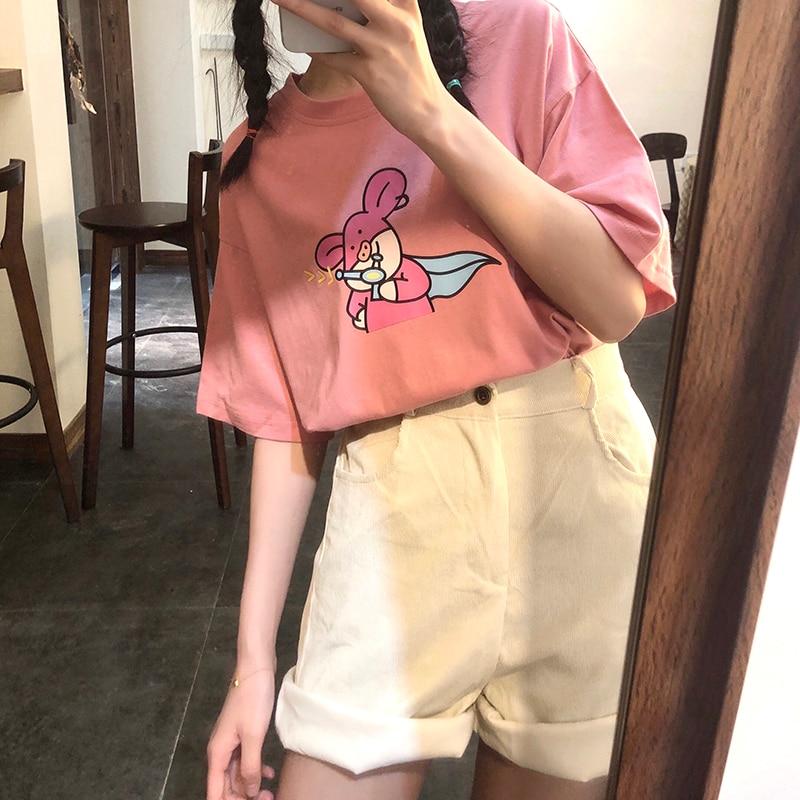 2020 Harajuku Piggy Spoof mujer camiseta Casual divertida camiseta regalo para señora Yong chica Top Tee Drop Ship de talla grande
