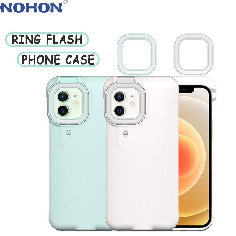 Nojon حلقة فلاش قضية الهاتف آيفون 12 برو ماكس 11 X XR XS 7 8 Plus مع LED Selfie ضوء المحمولة مضيا الغطاء الواقي