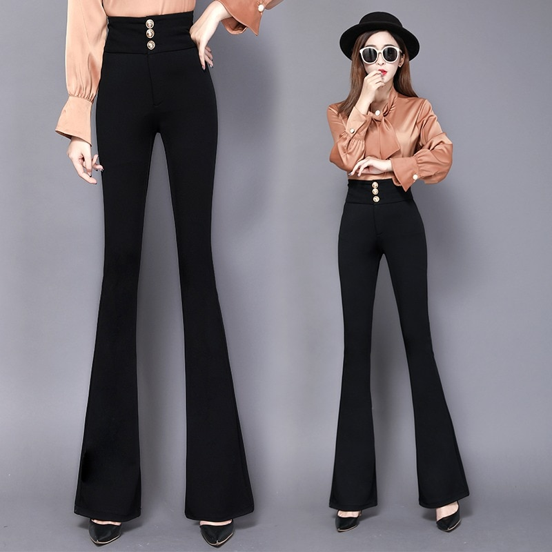 2021 Spring and Summer New Bootcut Trousers High Waist Elastic Slim Fit Drooping Straight Bell-Botto