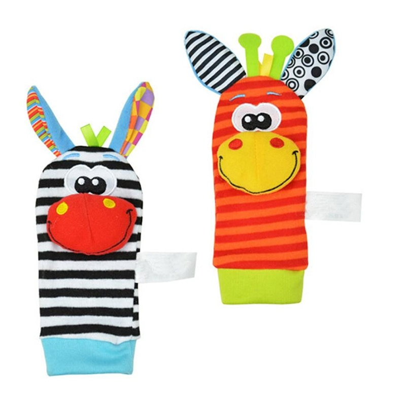 1pc 0-12 Months Baby Rattle Toys Garden Bug Wrist Rattle And Foot Socks Animal Cute Cartoon Baby Soc