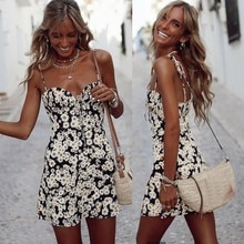 Frauen Sexy Sling Floral Print V-ausschnitt Tie Up Sleeveless Strand Party MIni Kleid W0212