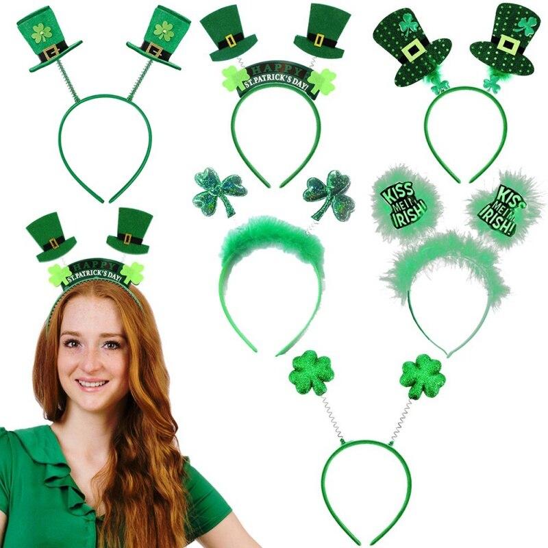 8 unids/set 2020 nuevo conjunto de San Patricio diadema de Día de San Patricio irlandés pelo verde hermosa decoración de fiesta
