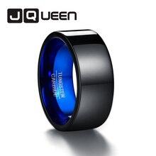 Nouveau confort ajustement taille 7-13 10mm de large poli noir bleu carbure de tungstène anneau hommes bague de mariage anniversaire amour anneau bijoux