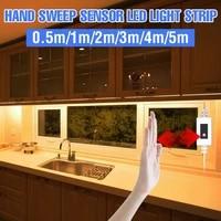 usb under cabinet lamp 5m pir motion sensing strip light led hand sweep switch cabinet lighting 5v waterproof flexible ribbon