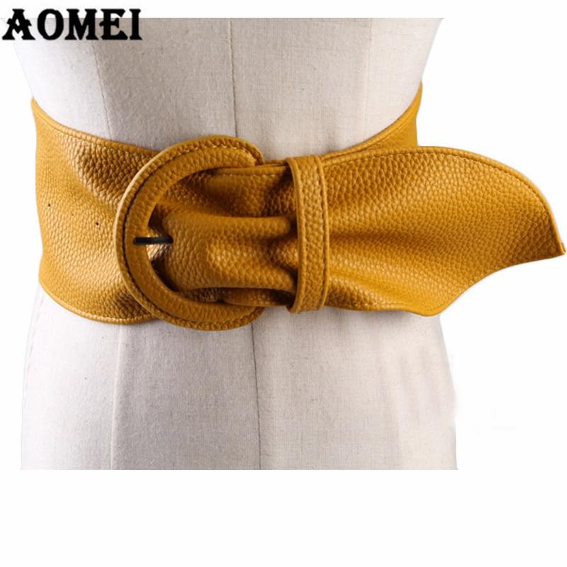Женский модный широкий кожаный ремень для платья, блузка с пряжкой, Женский Западный трендовый дизайн, черный, желтый, красный, верблюжий длинный ремень