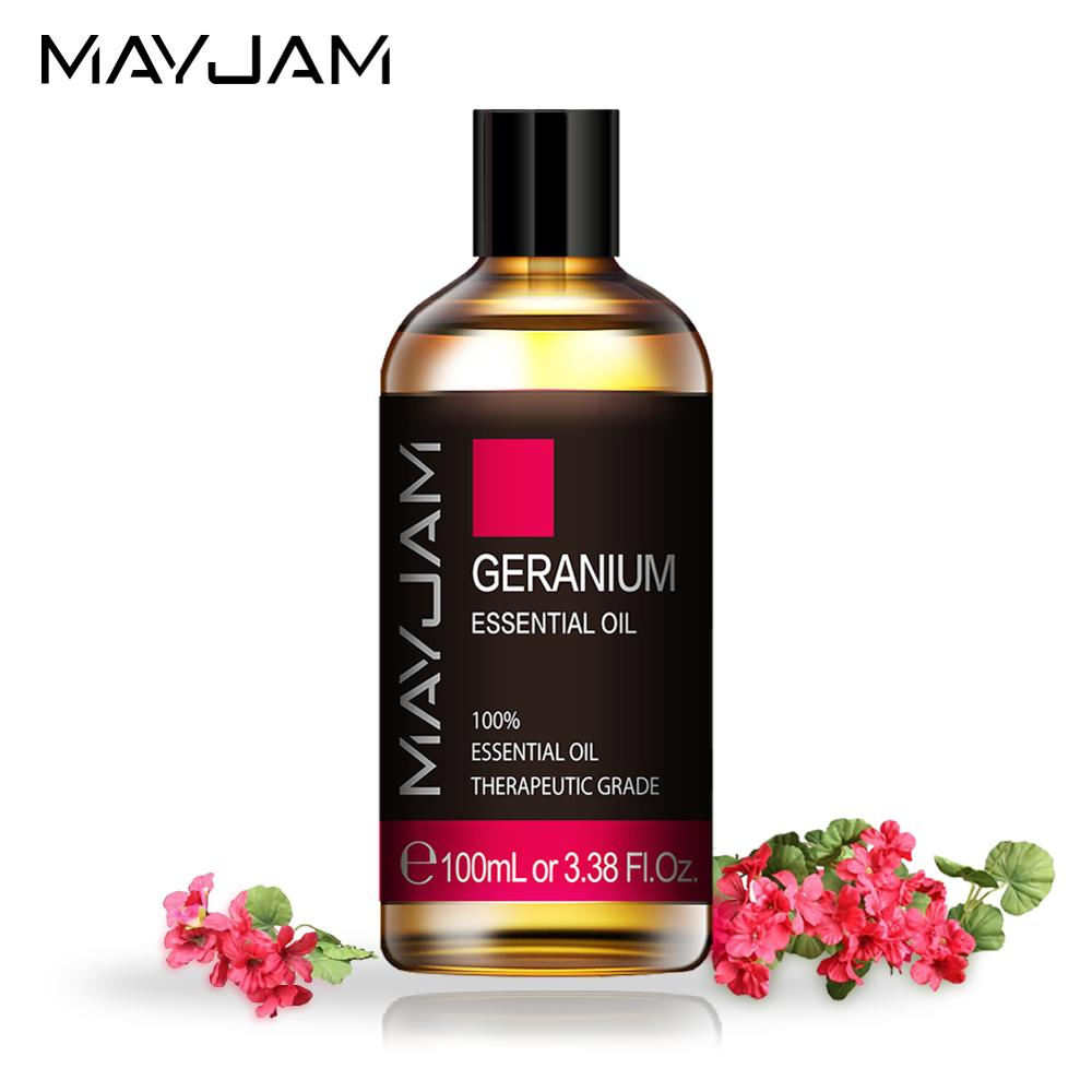 100ML Geranium Pure Natural Essential Oils for Relief Migraine Massage Aroma Oil Rosemary Cinnamon Cedarwood Lemongrass Tea Tree