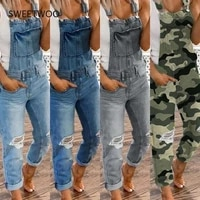 2021 summer denim jumpsuit overalls womens sports double shoulder straps with holes in casual all match overalls