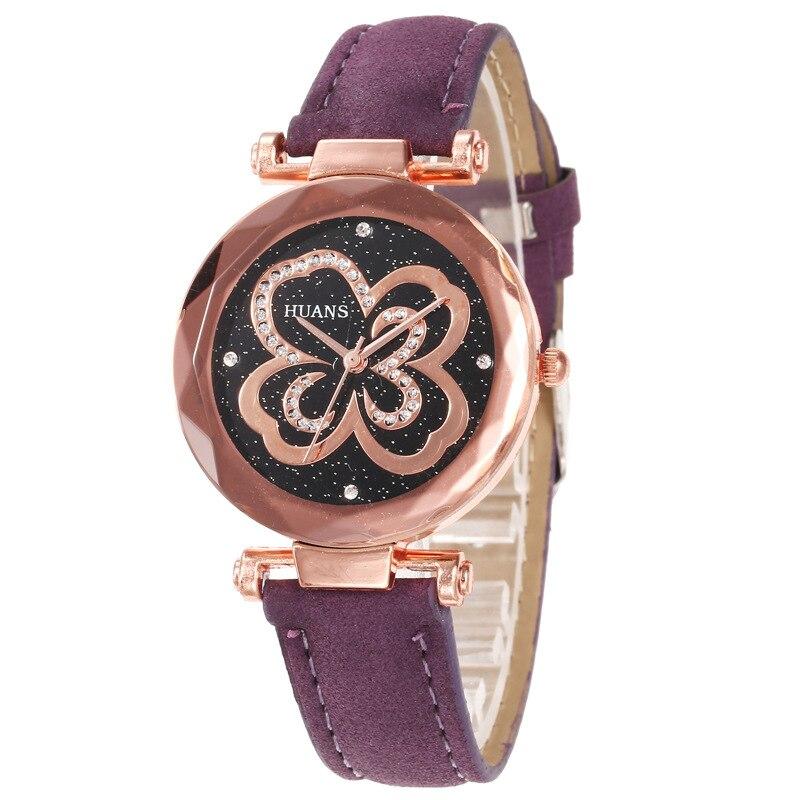 Women's Watches Fashion Female Wrist Watch Business Purple Leather Starry Sky Diamond Flower Pattern