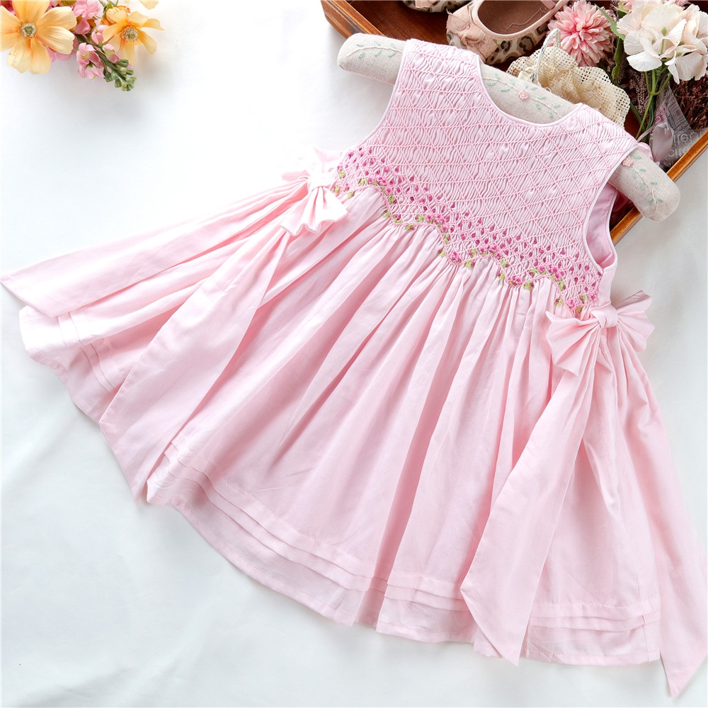 summer white dress for girls party dresses smocked princess birthday embroidery casual kids clothing enlarge