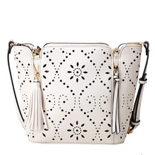 Beige White Leather Handbags Tote Large Capacity Shoulder Bags Casual Bucket Bag Sweet Solid Hollow
