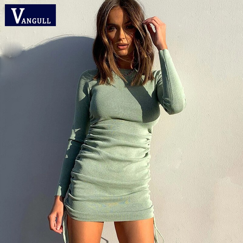 Vangull Gestrickte Volle Hülse Silm Kleid 2020 Herbst Neue Frauen Falten Geraffte Kordelzug Mini Kleid Casual Streetwear Oansatz Kleider