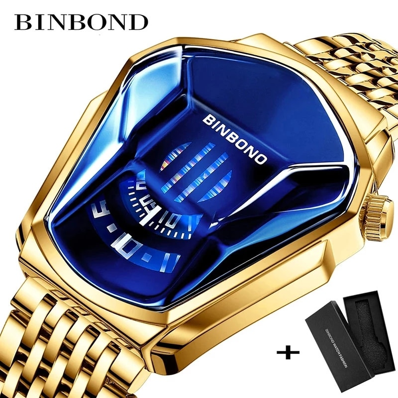 BINBOND 2021 new Gold wrist watch For Men male black technology waterproof student locomotive trend