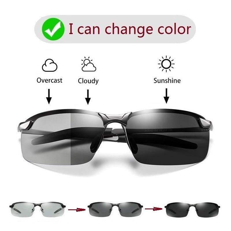 Alloy Photochromic Sunglasses Men Polarized Chameleon Glasses Change Color Sun Glasses Day Night Vis