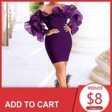 Violet élégant robe de Cocktail hors de lépaule courte Mini manches longues africaines robe de soirée de mariage pour les filles noires