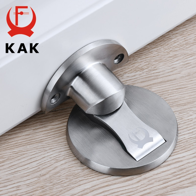 AliExpress - KAK Magnetic Door Stops 304 Stainless Steel Door Stopper Hidden Door Holders Catch Floor Nail-free Doorstop Furniture Hardware