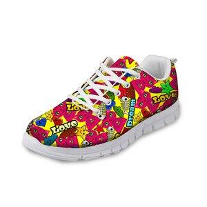 HaoYun Women Casual Sneaker Shoes Cartoon Sticker Pattern Girls Flat Walking Shoes Breathable Ladies Sports Footwear Zapatillas