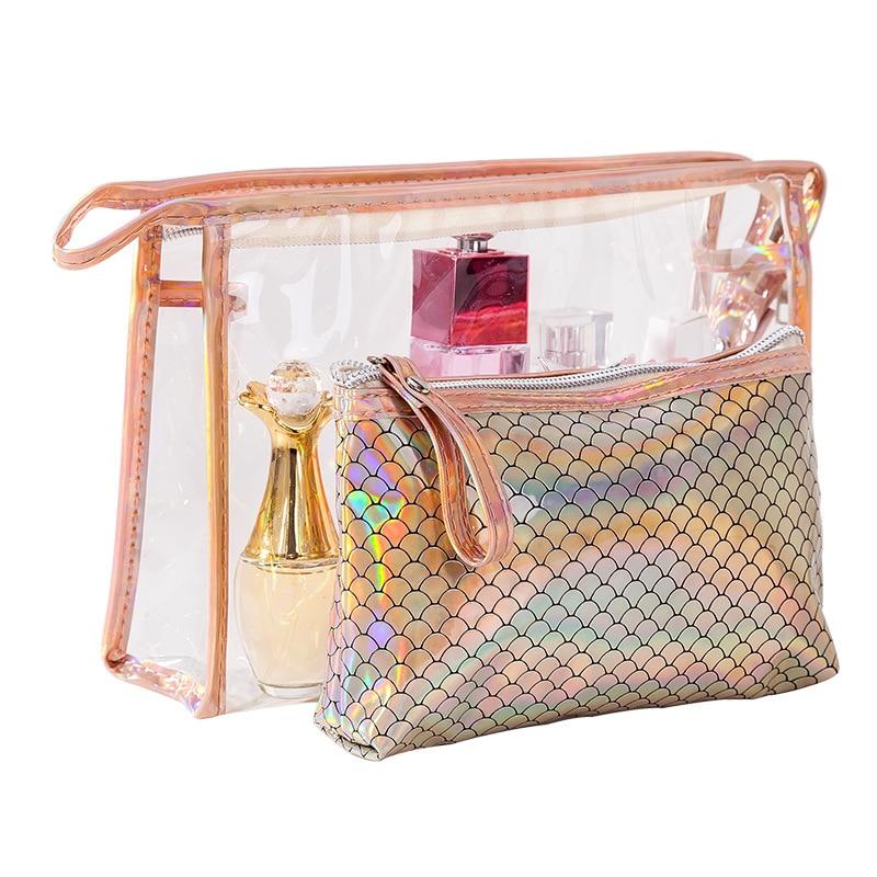 Multifunction Travel Cosmetic Bag 2 in 1 Transparent Toiletries Organizer Laser Hologram PU Women Make up Bag Set neceser