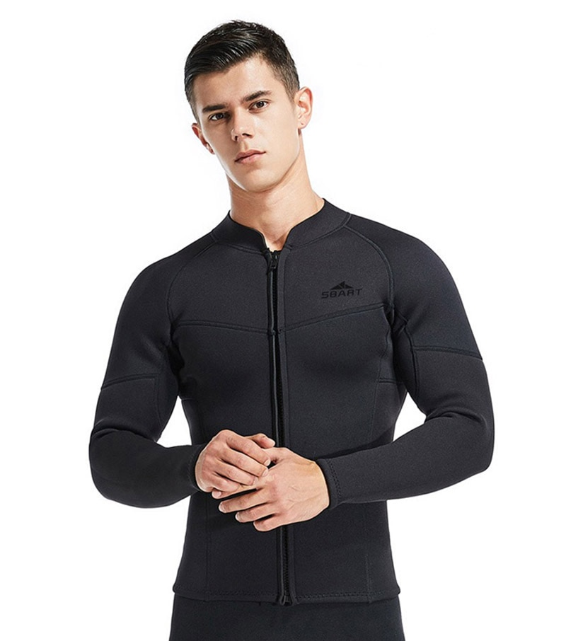 3mm Men Split Type Wetsuit one-top Warm Surf Swimming Zipper Long Sleeve Top Trousers Snorkeling Diving Suit Full Bodysuit Soft