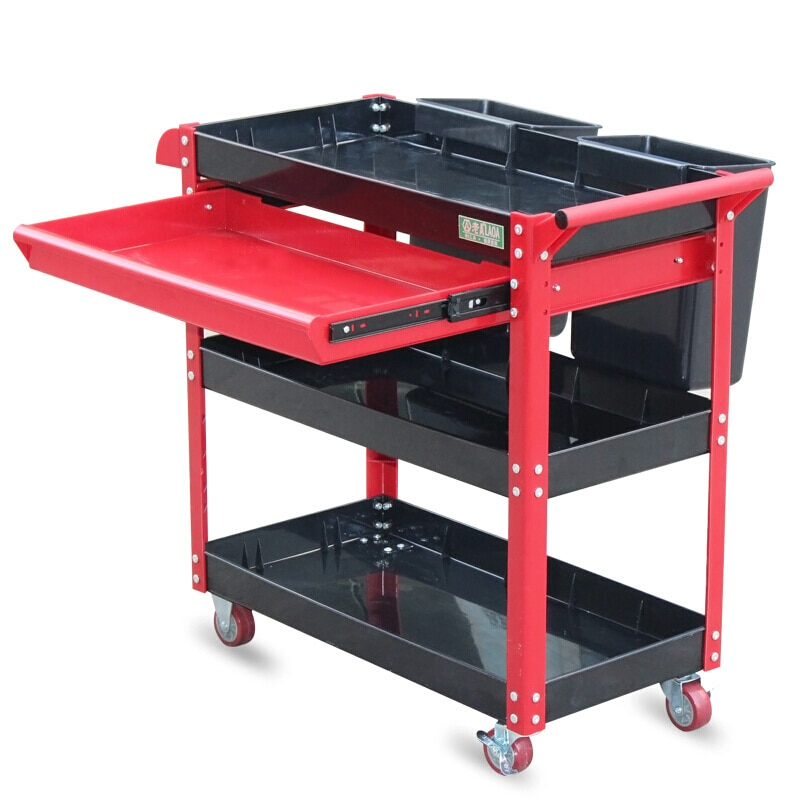 LAOA 4 Layers Tool Cart Wheels Plastic One Drawer No Tools Workshop Garage Tool Cabinet Tool Trolley