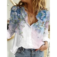 plus size casual loose women blouse spring autumn turn down collar long sleeve buttons top vintage fashion digital print blouses