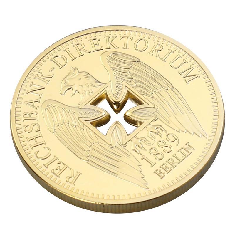 Monedas conmemorativas chapadas en oro del Banco Imperial alemán, coleccionables de monedas de desafío de águila cruzada de Alemania