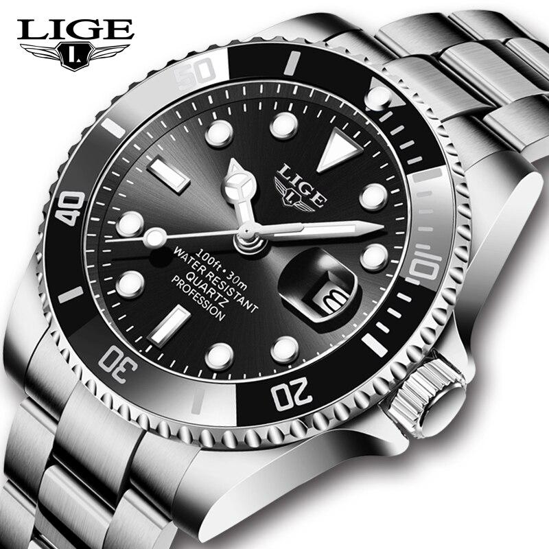 2021 LIGE العلامة التجارية الفاخرة الساعات الرياضية رجالي كوارتز ساعة اليد ساعة الموضة الرجال 30ATM مقاوم للماء ساعة التاريخ Relogio Masculino