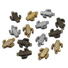 10pcs/lot Antique Gold Bronze Desert Cactus Flower Pendant Tibetan Plated Charm for DIY Making Finding Supplies