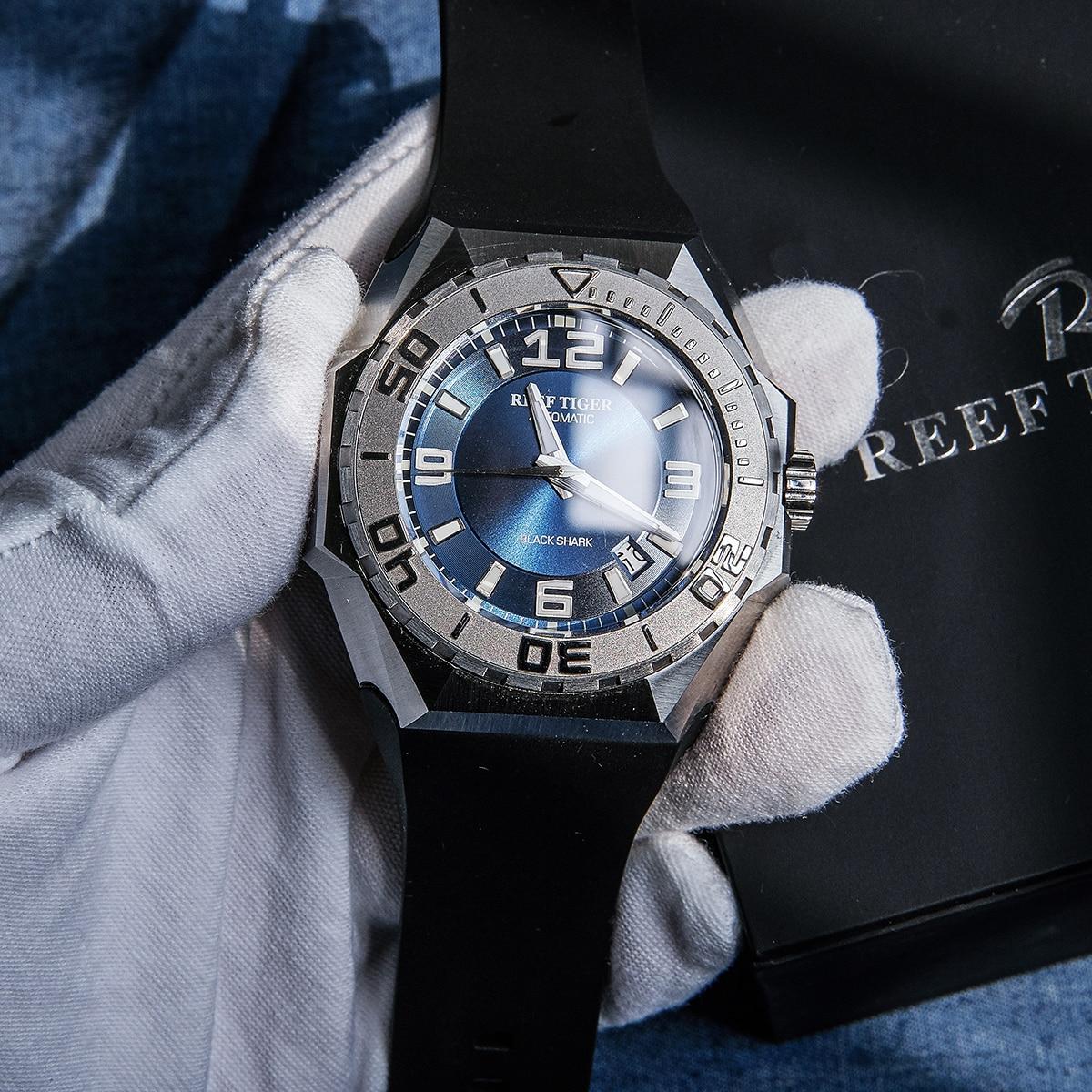 Reef Tiger/RT relojes deportivos de marca líder para hombre, caja de acero automática mecánica, resistente al agua, relojes de buceo, reloj Masculino RGA6903