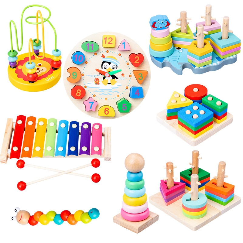 Early Education Baby Toys Montessori Beaded Building Blocks Knock Piano Twist Insect Intelligence Gift Wooden Puzzle Blocks baby recognition color logic intelligence toys geometric bricks cube matching building blocks toy baby early education gift toy