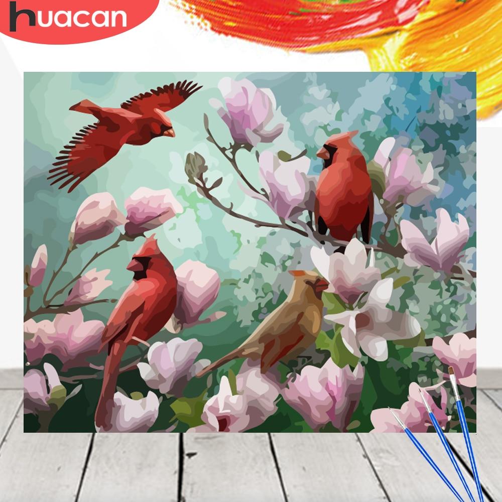 HUACAN pintura por números pájaro Kit de animales pintura acrílica sobre lienzo pared arte imagen decoración para el hogar pintada a mano DIY regalo