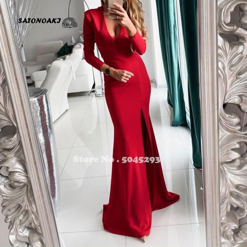 فستان سهرة ساتان أحمر ، مثير ، نمط حورية البحر ، أكمام طويلة ، فتحة جانبية ، فستان سهرة رسمي ، غير محدد ، 2020