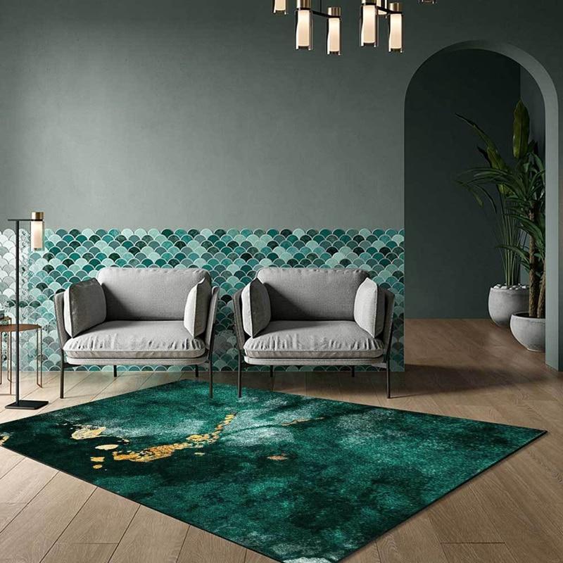 سجاد JQ عصري مضاد للإنزلاق للأرضيات باللون الأخضر الداكن بنمط رخامي مجردة لغرفة النوم وسجاد بجانب السرير والمطبخ والحمام