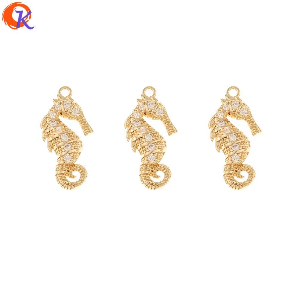 Design cordial 30 pçs 11*22mm acessórios de jóias/brinco descobertas/feito à mão/diy fazendo/cavalo marinho/genuíno chapeamento de ouro/cz encantos