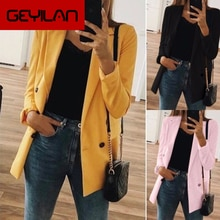 Women 2020 Fashion Office Wear Pockets Blazers Coat Vintage Notched Collar Long Sleeve Female Outerw