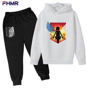 Boy/girl Set Cosplay Attack Giant Sports Set Set Da 2 Pezzi Attack On Titan Hoodie Clothes Fashion Street Jacket Per L'autunno