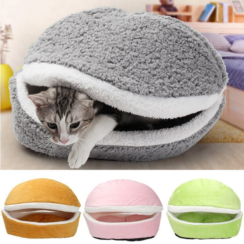 Saco de dormir de gato redondo cojín del sofá suave hamburguesa Casa de perro corto de felpa pequeña cama caliente cachorro nido alfombra mascota suministros washin