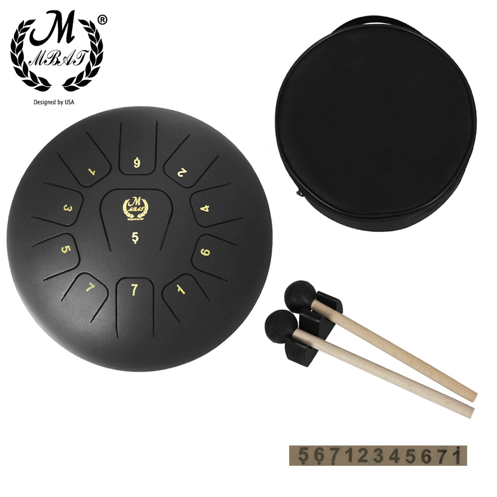M MBAT Worry-free Hand Pan Drum 12 Inch 11 Tone Steel Tongue Drum Percussion Instrument Yoga Meditation Music Accessories Set enlarge