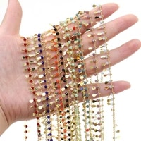 natural stone quartzs crystal beads 1 meter handmade copper chain size 3x3mm for jewelry making necklace bracelet accessories