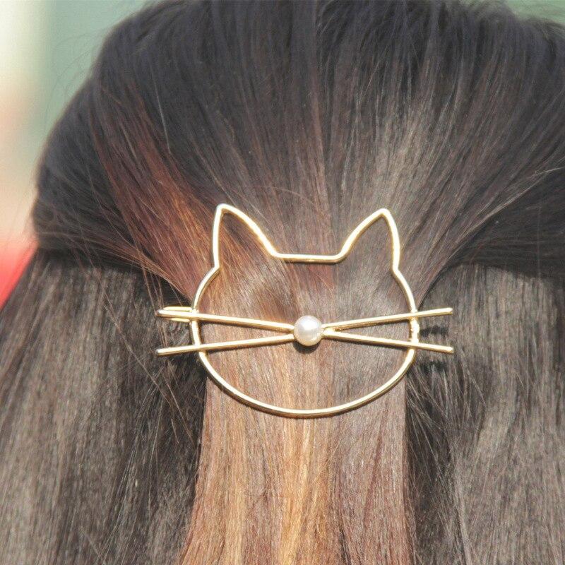 1 pcs moda oco bonito gato pino de cabelo imitação pérola hairpin cabelo grampo lateral acessórios para o cabelo barrette para mulheres presente da menina