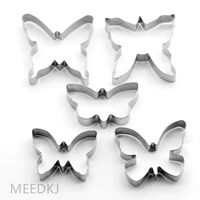 5 pieces set of cookies butterfly plunger cutter mould baking tool decorating cake fudge mold dough ice cake cutter
