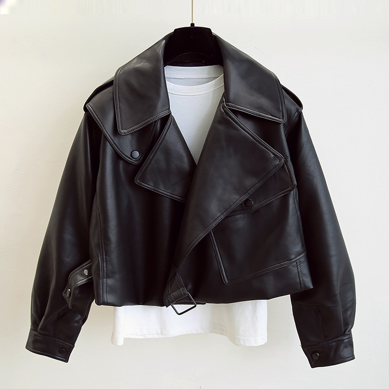 New Spring Women Faux Leather Jacket Biker Red White Coat Turndown Collar PU Motorcycle Jackets Loose Outerwear