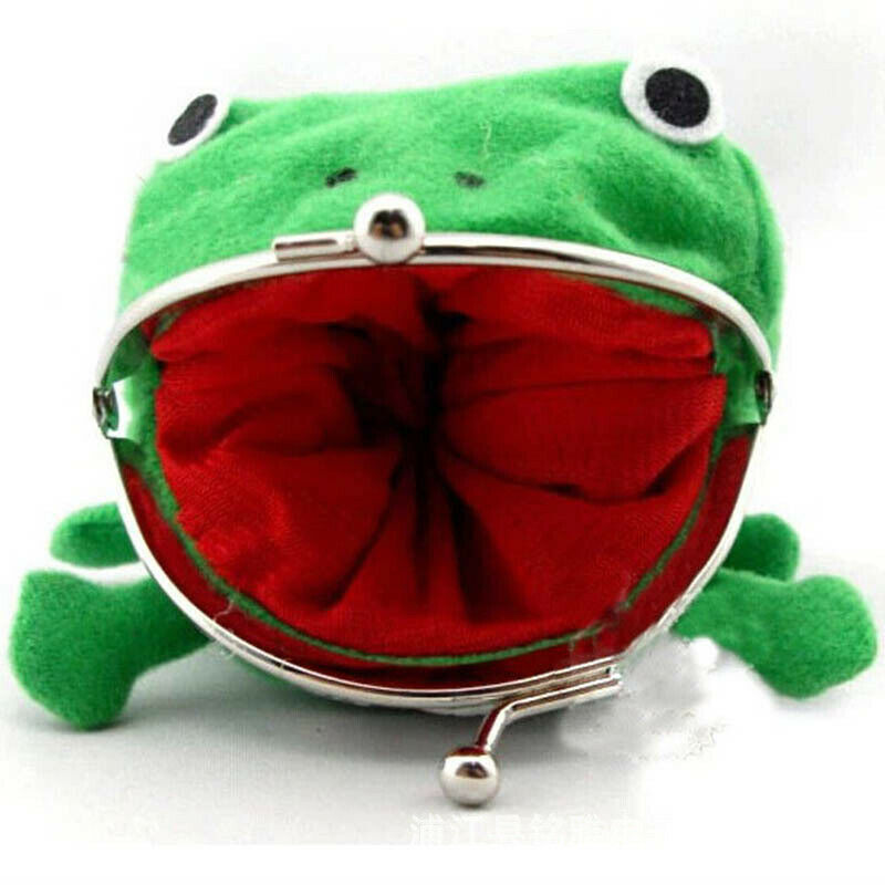 1 Uds rana de dibujos animados monedero con forma de billetera pluff Clutch Cosplay verde Mini monedero bolsa nueva caliente