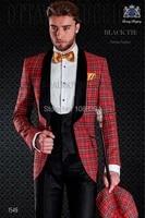 brand italian new groomsmen 3 piece groom dinner party suits slim fit plaid wedding dress tuxedos jacketpantsvestbow