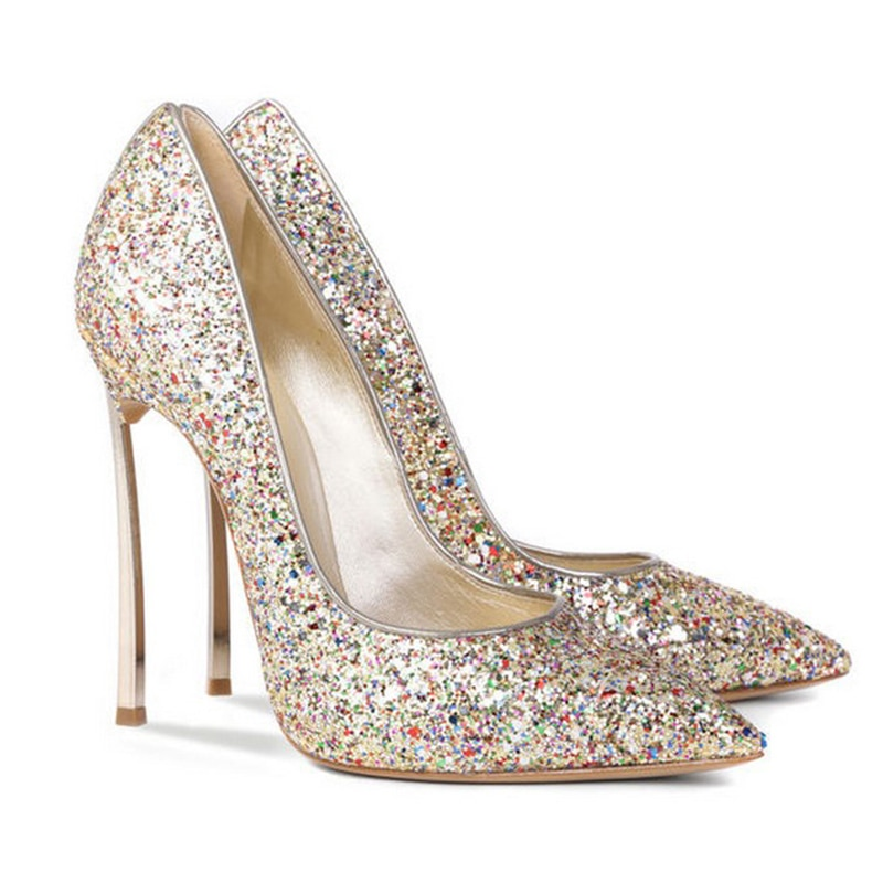 Pumps New Spring Women's Shoes Sequin Pointed High Heels Thin Heel Gold Silver Sexy Shallow Mouth Night Club Single Shoes Sandal