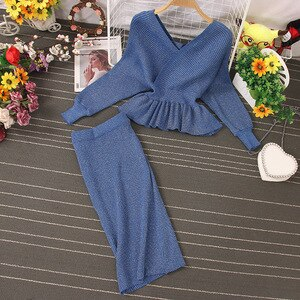 Autumn Women Shiny Knitting Skirts Sets Lurex Ruffles Long Sleeve Sweater Tops+High Waist Bodycon Skirt Two Pieces Set DZA345
