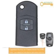 Обновленный раскладной дистанционный ключ KEYECU для Mazda 2, 3, 6, 2002, 2003, 2004, 2005, 2 кнопки Fob, 433 МГц, чип 4D63, модель Visteon No. 41803 Ключ от авто      АлиЭкспресс