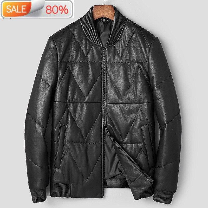 Cuir canard vers le bas hiver 2020 hommes véritable peau de mouton manteau veste de Baseball Chaqueta Hombre A1T0066 YY270