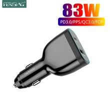 FERISING 83W Быстрое Автомобильное зарядное устройство USB C PPS/PD 65W/45W/30W/18W QC3.0 4,0 для Type CThunderbolt 3 ноутбука iPhone11/SE S10/S20/Note 10