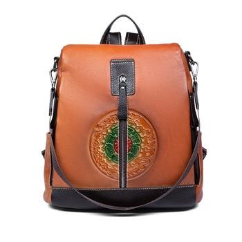 Nesitu Highend New Vintage Coffee Brown Grey A4 Genuine Leather Women's Backpack Female Lady Girl Cowhide Shoulder Bag M3622